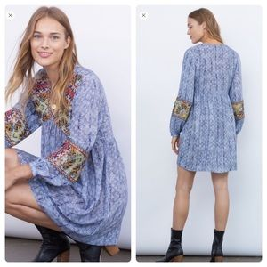 Anthropologie linne embroidered tunic dress